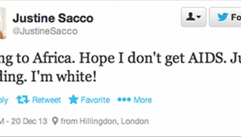 "En tweet skrevet av Justine Sacco. Den sier ""Going to Africa. Hope I don´t get AIDS. Just kidding. I´m white!""."
